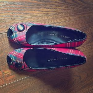 Chinese Laundry Plaid-Button Heels